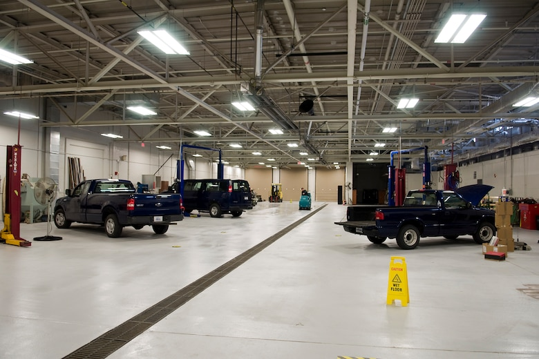 GRISSOM AIR RESERVE BASE, Ind. -- The inside of a newly renovated vehicle maintenance facility here is noticeably different with brighter lighting, new paint and a new floor. The facilty, which was first built in 1957, was recently upgraded and opened for business during a special ribbon cutting ceremony here May 10. (U.S. Air Force photo/Tech. Sgt. Mark R. W. Orders-Woempner)