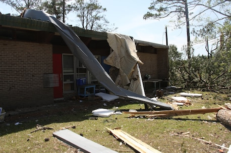 Day after tornado destruction.  Damage assessment of Tarawa Terrance housing area aboard Marine Corps Base Camp Lejuene,  N.C., Apr. 18, 2011.