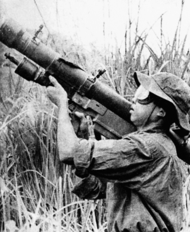 North Vietnamese soldier preparing to fire an SA-7 surface-to-air missile. (U.S. Air Force photo)