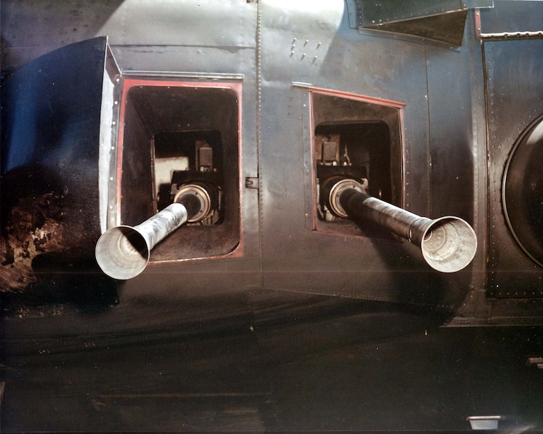 View of the 40mm guns on an AC-130 from the outside of the aircraft. (U.S. Air Force photo)
