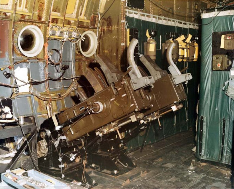 View of the 40mm guns on an AC-130 from the inside of the aircraft. (U.S. Air Force photo)