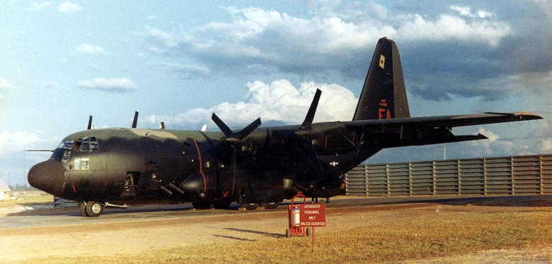 AC-130A at Ubon Royal Thai Air Force Base in the spring of 1969. It is armed with four 20mm cannons and four 7.62mm miniguns. (U.S. Air Force photo)