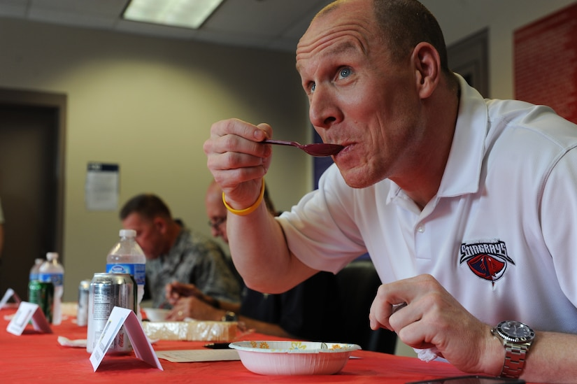 Rob Concannon, South Carolina Stingrays President, was a judge at the 628th Security Forces Squadron Chili Cook Off, May 16 at Joint Base Charleston - Air Base. This event was part of National Police Week, which occurs annually during the week of May 15, recognizing the service and sacrifice of U.S. law enforcement personnel. (U.S. Air Force photo/Airman 1st Class Ashlee Galloway)