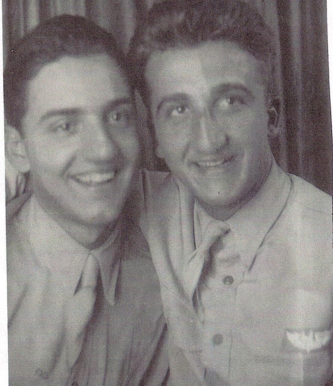 A historic photograph of U.S. Army Air Forces Tech. Sgt. Anthony Fidares, 303rd Bomb Group; and Sgt. Nicholas Fidares, 44th Bomb Group, in their service uniforms. The brothers both died during combat missions in 1944. Anthony Fidares is listed on the Wall of Missing at Madingley American Cemetery in Cambridge, England. Nicholas Fidares is buried at the cemetery. (Courtesy photo)