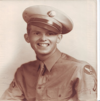 A historic photograph of Staff Sgt. (then Pvt.) Merl W. Skinner, 301st Squadron, U.S. Army Air Forces, in his service uniform. Skinner, a C-47 Skytrain crewchief, died while air evacuating World War II patients to Prestwick, Scotland, and is buried at Madingley American Cemetery in Cambridge, England. (Courtesy photo)