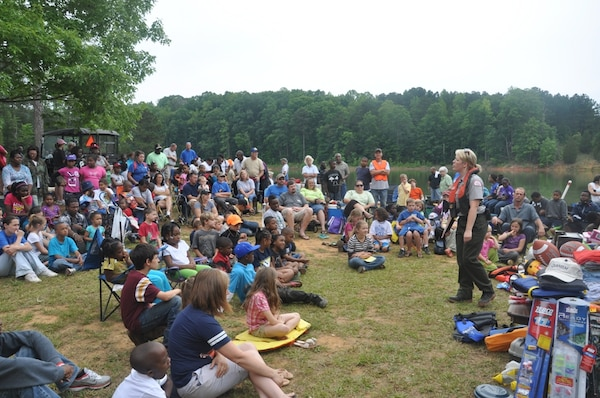 CALHOUN FALLS, S.C. — Erin Parnell, U.S. Army Corps of Engineers park ranger, gives a water safety presentation at the 24th Annual Kid's Fishing Derby at Richard B. Russell Lake, May 12, 2012.