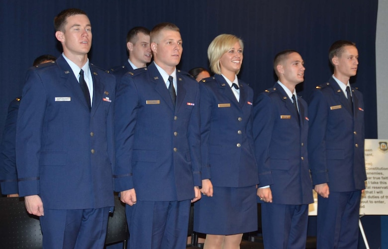 University of New Mexico Air Force ROTC cadets took their oath of commission in a ceremony May 11 at the Air Force Operational Test and Evaluation Center headquarters at Kirtland Air Force Base, N.M.