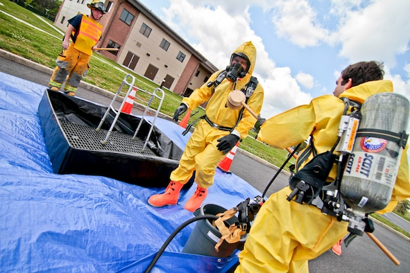 Members of the South Jersey Transportion Authority Fire Department and Atlantic County Hazmat are decontaminated for an exercise on May 10.  The 177th Fighter Wing, located at Atlantic City International Airport, NJ, hosted the training with local agencies.  U.S. Air Force photo/Tech. Sgt. Matt Hecht