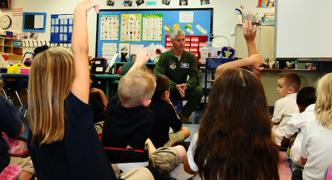 Col. Donald Drechsler, 36th Wing vice commander, answers questions during the Andersen Elementary School Career Day May 11. Several speakers from Andersen and the local community came to demonstrate career possibilities for children in several different grades. (U.S. Air Force photo by Airman 1st Class Marianique Santos/Released)
