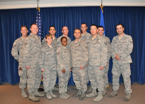 NELLIS AIR FORCE BASE, Nev. -- The 926th Group celebrated 11 graduates of the Noncommissioned Officer Leadership Development Course during a ceremony here Apr. 27. (Back row left to right) Tech. Sgt. Robert Roberts, 58th Rescue Squadron, Tech. Sgt. Jonathan Jundt, 926th Aircraft Maintenance Squadron, Staff Sgt. Mason Allen, 926th Group, Staff Sgt. Christopher Simpson, 926th AMXS, Staff Sgt. Johnathan Jacobus, 926th AMXS, Staff Sgt. David Fox, 926th AMXS, Staff Sgt. Danny Burgett, 926th AMXS; (front row left to right) Tech. Sgt. Angela McGuire, 926th Force Support Squadron, Staff Sgt. Tynisa Downs, 926th FSS, Staff Sgt. Michael Loose, 926th AMXS, Tech. Sgt. Macord Johnson, 926th Civil Engineer Flight (U.S. Air Force photo/Maj. Jessica Martin)