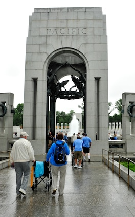 World War II veterans tour the World War II Memorial in Washington D.C. March 21. The trip is part of a program called the Greater St. Louis Honor Flight, a non-profit that takes World War II veteran to the to the memorials.  The WWII memorial honors the 16 million who served in the armed forces of the U.S. during World War II, the more than 400,000 who died, and the millions who supported the war effort from home. Symbolic of the defining event of the 20th Century, the memorial is a monument to the spirit, sacrifice, and commitment of the American people to the common defense of the nation and to the broader causes of peace and freedom from tyranny throughout the world. The memorial opened to the public on April 29, 2004 (U.S. Air Force photograph/ Staff Sgt. Stephenie Wade)