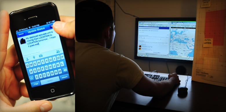 A U.S. Air Force member posts a status update containing sensitive information regarding their deployed spouse's movements on a personal Facebook page. An unknown, unintended agent is able to gather that information from the internet and utilize it any way they wish. Airmen and their dependents are reminded of operational security - always consult public affairs and your OPSEC monitor with questions or concerns before the release of information. (U.S. Air Force photo illustration by Senior Airman Jette Carr and Airman 1st Class Eboni Reece)