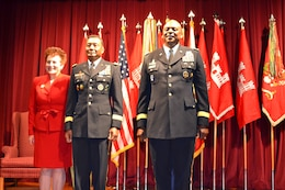 WASHINGTON -- Lt. Gen. Thomas P. Bostick, U.S. Army Corps of Engineers commanding general (center), stands with his wife, Renee (left), and Gen. Lloyd J. Austin III, U.S. Army vice chief of staff (right), after officially assuming duties as the U.S. Army Corps of Engineers commanding general and chief of engineers during a ceremony at Fort Lesley J. McNair, May 22, 2012.