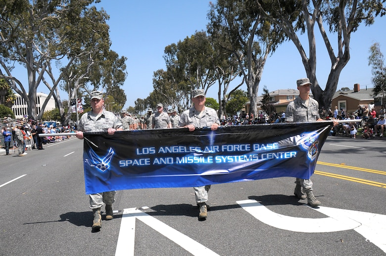 A combined unit with airmen from Los Angeles, Vandenberg and Edwards Air Force bases marches during the 53rd Annual Torrance Armed Forces Day Parade, May 19. (Photo by Joe Juarez)