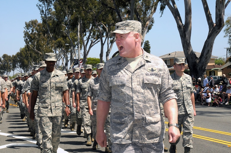 Brig. Gen. Roger Teague, SMC vice commander, leads the Air Force Marching Unit during the 53rd Annual Torrance Armed Forces Day Parade, May 19. The parade is one of the longest running Armed Forces Day parades in the country. (Photo by Joe Juarez)