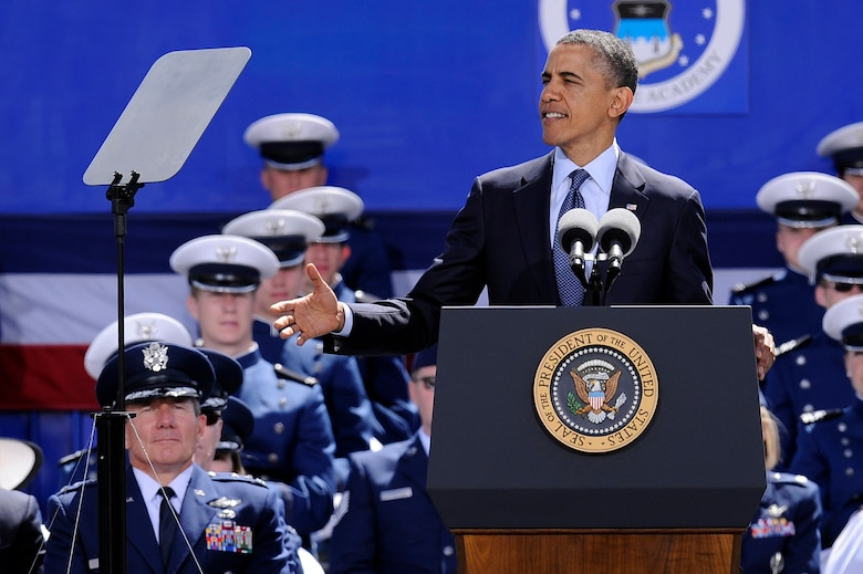 President Barack Obama delivers the commencement speech to the Air Force Academy Class of 2012 at Falcon Stadium in Colorado Springs, Colo., May 23, 2012. The Class of 2012 is the Academy's 54th graduating class. (U.S. Air Force photo/Mike Kaplan)