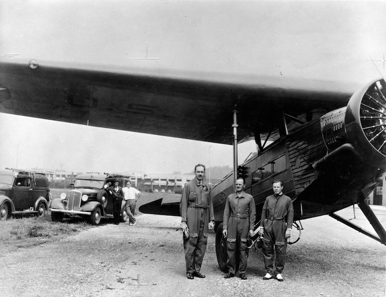 The three occupants of the C-14B and their plane, which made history's first automatic landing, were Capt. Carl J. Crane, who invented the system, Capt. George V. Holloman, who flight tested it, and Mr. Raymond Stout, a Wright Field civilian electronic engineer who assisted in developing the system. (U.S. Air Force photo)