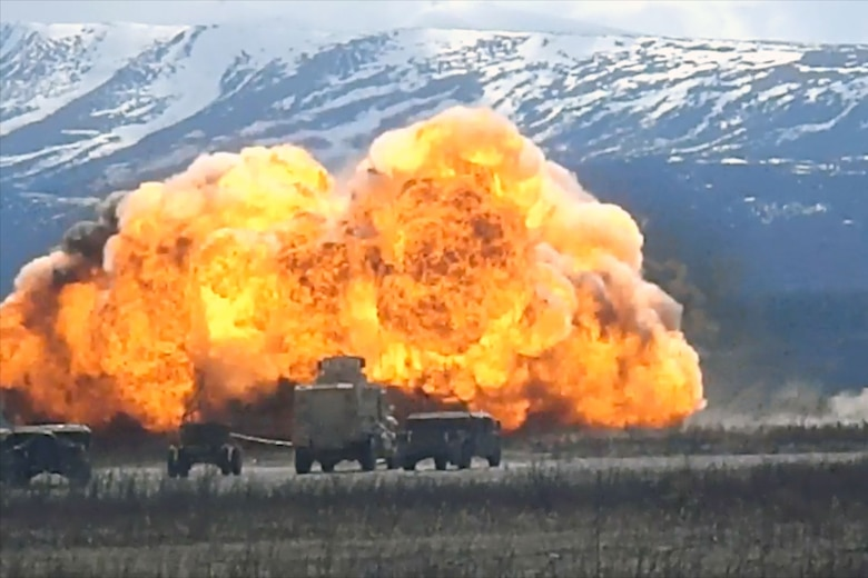 Soldiers of 84th Engineer Support Company (Airborne) and 23rd Engineer Company (Sapper) (Airborne) detonate a mine-clearing line charge at Donnelly Training Area earlier this month. (U.S. Army video still courtesy of 6th Engineer Battalion)