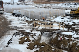 ST. PAUL, Minn. — The U.S. Army Corps of Engineers St. Paul District spent the winter constructing an 800-foot control structure at Tolna Coulee to regulate the amount of water that would flow through the coulee from Devils Lake into the Sheyen