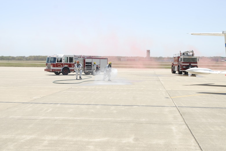 Servicemembers from the 110th Airlift Wing conduct a Massive Accident Response Exercise (MARE) is for training purposes at Battle Creek Air National Guard Base, Battle Creek, Mich. on May 15, 2012. There were members from all groups that participated in the exercise.