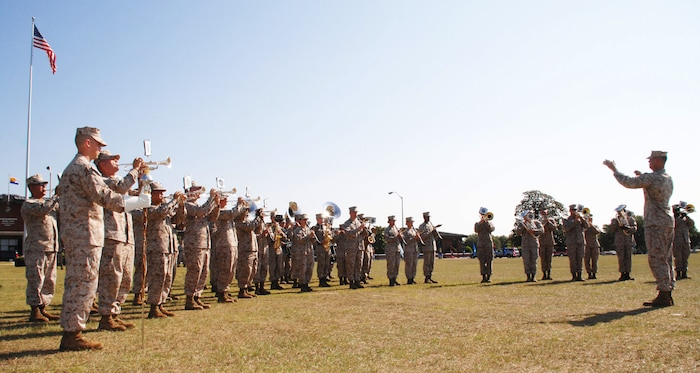 Marine Corps Band New Orleans performs during the change of command ceremony held at Schmid Field Friday.