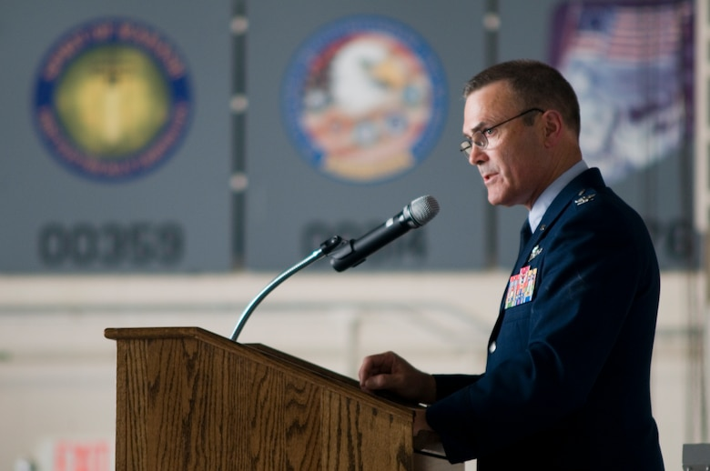 "GRISSOM AIR RESERVE BASE, Ind. -- Col. William T. ""Tim"" Cahoon, 434th Air Refueling Wing commander, gives a speech during his retirement ceremony May 20 at Grissom. Cahoon began his Air Force career in 1977 and has piloted the A-10 Thunderbolt II, F-16 Falcon, T-38A/C Talon, KC-135R/A Stratotanker and T-37 Tweet. (U.S. Air Force photo/Senior Airman Andrew McLaughlin)"