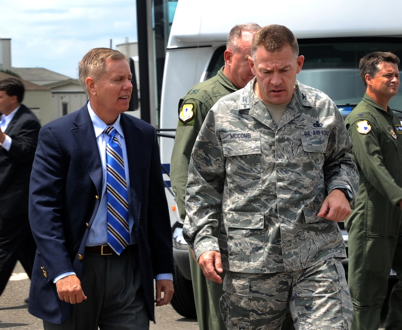 Colonel Richard McComb, Joint Base Charleston commander, speaks with U.S. Sen. Lindsey Graham from South Carolina upon his arrival May 29, 2012 to JB Charleston, S.C. Graham visited the base to have an open forum with JB Charleston leadership. (U.S. Air Force photo/Airman 1st Class Ashlee Galloway)