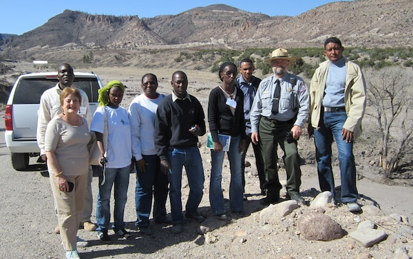 On March 27, 2012, Cochiti Project employees hosted seven professional water managers    representing five counties in the Sahel Region of Africa.  Specifically, the water managers represented Burkina Faso, Mali, Mauritania, Niger and Senegal.  The visitors and their    interpreter are shown with Supervisory Park Ranger Mark Rosacker (second from right).