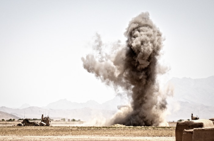 An improvised explosive device is detonated during an Alpha Company, Combat Logistics Battalion 4, 1st Marine Logistics Group (Forward) patrol, May 31. The combat logistics patrol was delivering supplies in support of Operation Branding Iron.
