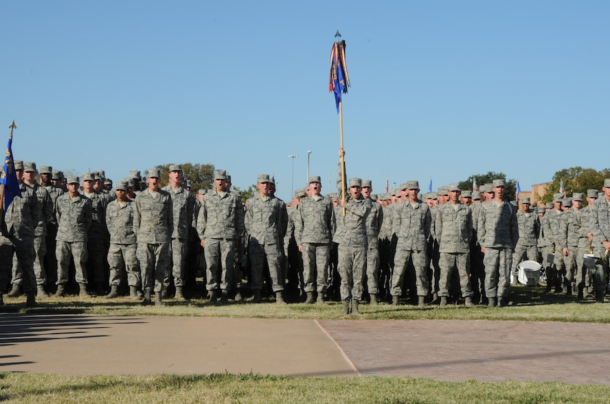 """The 363rd Training Squadron yells out their squadron chant during the 82nd Training Wing quarterly """"Drill Down"""" competition Oct. 31, 2012 at the Sheppard Air Force Base, Texas, parade field Oct. 31, 2012. The drill down was judged by Lt. Gen. Gorenc, the Air Force's Assistant Vice-Chief of Staff, Brig. Gen. Les Kodlick, Air Force Director of Public Affairs and Chief Master Sgt. of the Air Force James Roy as part of a civic leader tour visit to the base with first place going to the the 363rd TRS. (U.S. Air Force Photo/Felton Joshua)"""