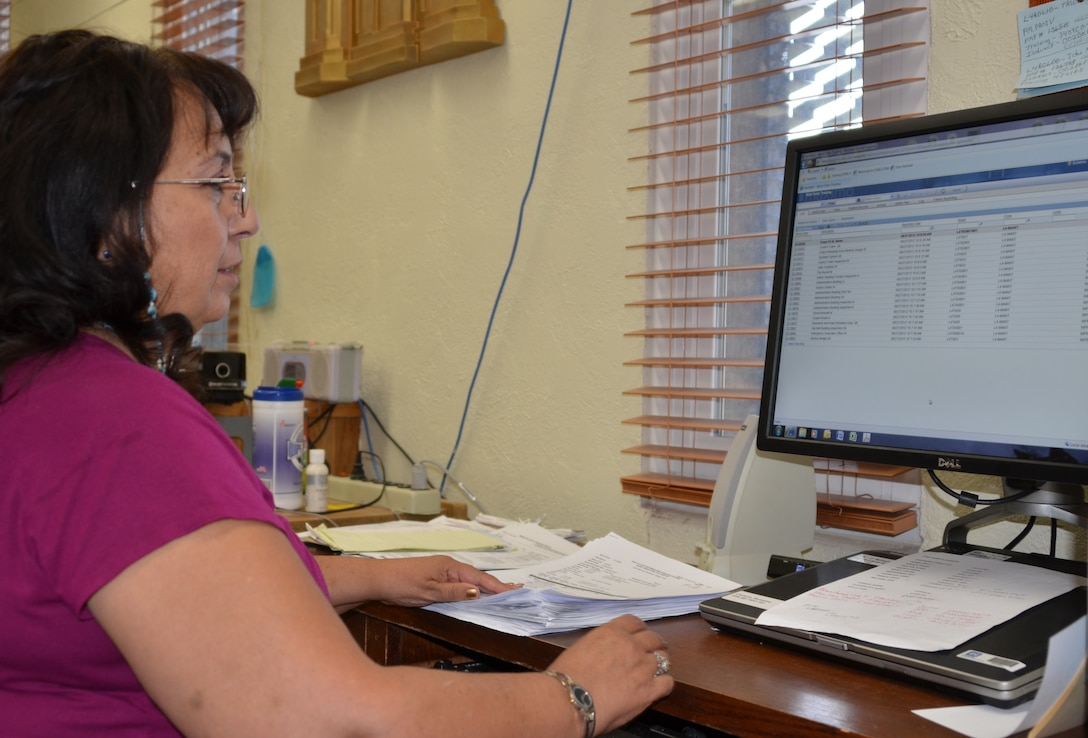 TRINIDAD, COLO., -- Bernadine Cisneros is one of the District's three Facility Equipment Maintenance (FEM) technicians. She reviews work orders for John Martin and Trinidad Dams in Colorado, and she inputs the orders into the FEM system.