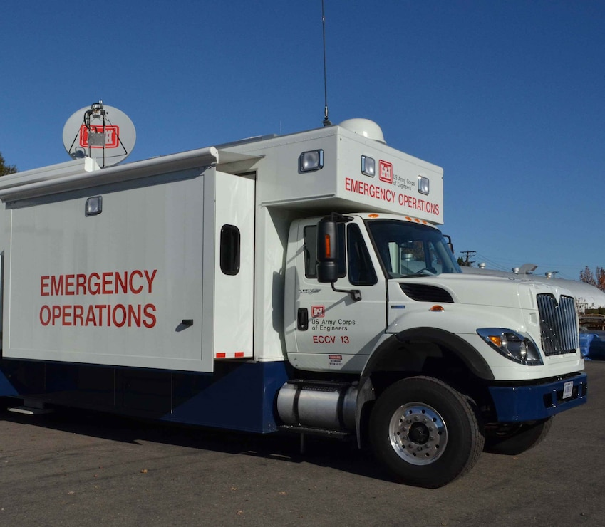 A U.S. Army Corps of Engineers mobile command center - called a Deployable Tactical Operations System, or DTOS - shown during an emergency response exercise in Sausalito, Calif.