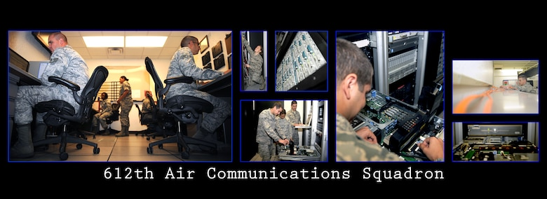 The 612th Air Communications Maintenance Squadron acts as the electronic hub for the entire 612th Air Communications Squadron. The unit is home to the Communications Focal Point, Radio Frequency Transmission Systems and many other shops vital to the continuation of air communication.