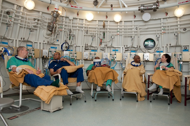 Patients at David Grant Medical Center relax prior to a dive in the hospital's hyperbaric chamber. (U.S. Air Force Photo/Ken Wright)
