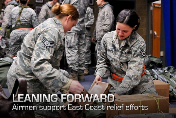 Air Force Staff Sgts. Jennifer Lindner and Amanda Surwillo pack meals, ready to eat, as they and fellow Airmen prepare for deployment as part of New York's response to Hurricane Sandy on Stewart Air National Guard Base in Newburgh, N.Y., Oct. 31, 2012. The Airmen are assigned to the 105th Airlift Wing and 213th Engineering Installation Squadron. (U.S. Air Force photo/Tech. Sgt. Michael O'Halloran)
