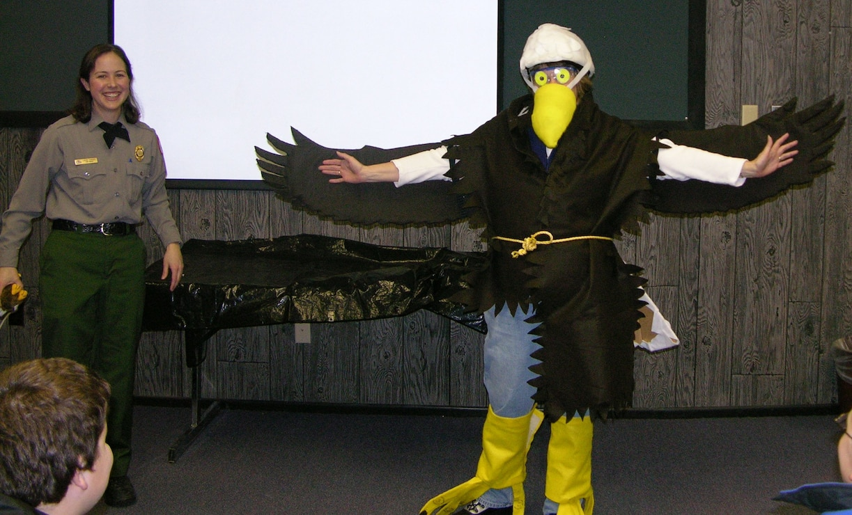 "Park Ranger presenting ""Build an Eagle"" program at Visitor Center"