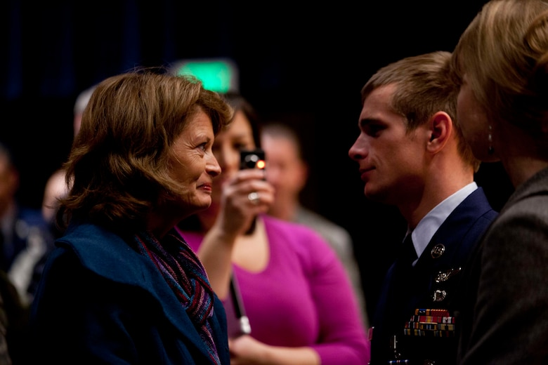 U.S. Senator Lisa Murkowski thanks Staff Sgt. Aaron Parcha for his service and bravery for actions performed during his deployment in 2010. Parcha exposed himself to enemy fire to ensure casualties were treated and safely returned to base during Operation Bulldog Bite November 2010. Photo by Lt. Bernie Kale, Alaska National Guard Public Affairs Office