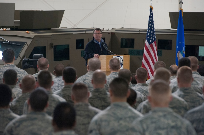 Deputy Secretary of Defense Ashton B. Carter speaks to Airmen at Minot Air Force Base, N.D., Nov 2, 2012.  Carter thanked them for their hard and dedicated work. (DoD photo by Erin A. Kirk-Cuomo)