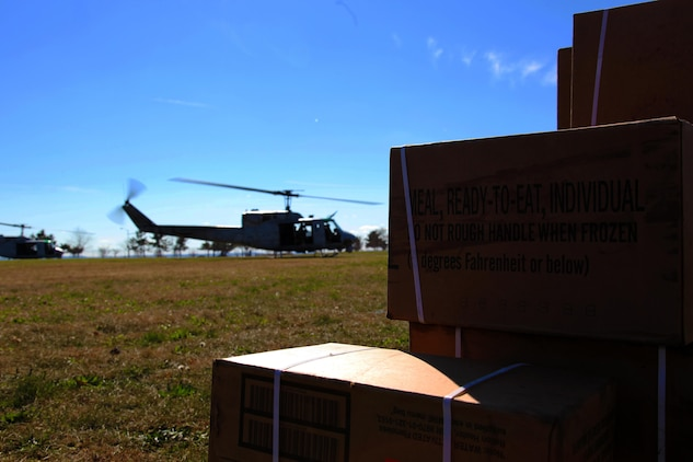 Marine Corps UH-1N Hueys with the 26th Marine Expeditionary Unit deliver meals-ready-to-eat to Staten Island, N.Y., Nov. 4. The Navy-Marine Corps team is well-equipped to respond to national disasters when required, through the coordination of U.S. Northern Command. While the military plays an important role in disaster response, all our efforts are in support of FEMA first and foremost, who coordinate closely with state and local officials.