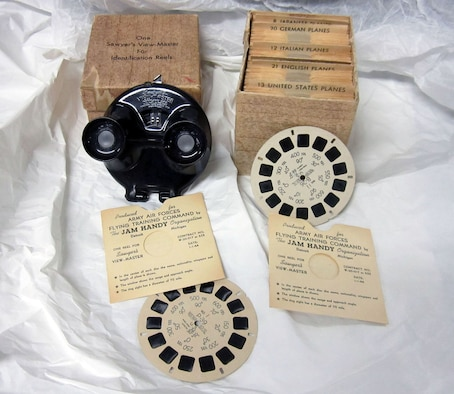 This Viewmaster belonged to Dale Malone Heverling Sr., the donor's father-in-law. It features 78 reels of slides to teach the identification of U.S., English, Russian, Italian, German and Japanese aircraft during World War II. (U.S. Air Force photo)