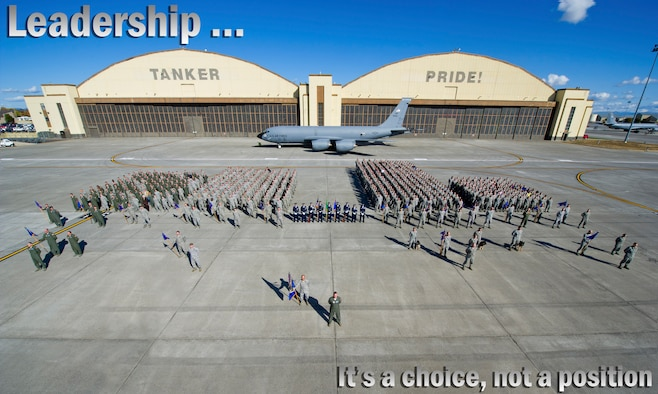"""""""Leadership is a choice … not a position."""" (U.S. Air Force photo illistration by Airman 1st Class Taylor Curry/photo by Airman 1st Class Ryan Zeski)"""