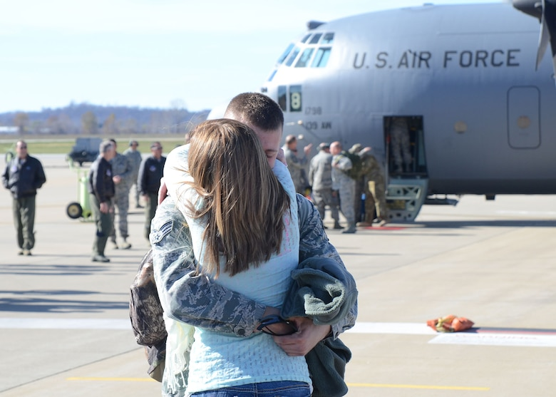 Family and friends of Missouri Air National Guard members at Rosecrans Air National Base, St. Joseph, Mo., Nov. 7 welcomed home nearly 50 deployed Airmen from overseas contingency operations in Southwest Asia. The citizen-Airmen with the 139th Airlift Wing left on Independence Day and returned just short of Veterans Day. (U.S. Air Force photo/Master Sgt. Mike R. Smith, 139th Airlift Wing) (Released)
