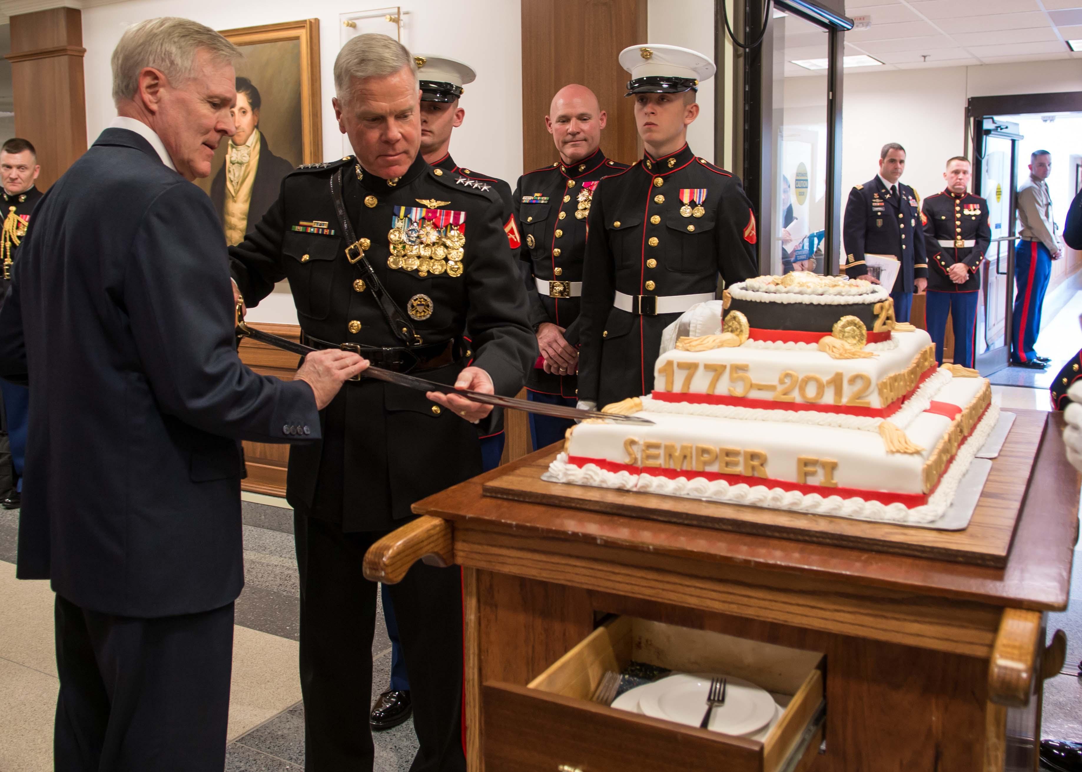 Usmc Birthday Cake Cutting Mattis