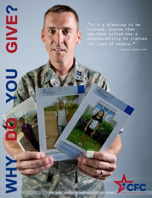 BUCKLEY AIR FORCE BASE, Colo. -- Chaplain (Capt.) Randy Croft donates to the Combined Federal Campaign to children in need. Why do you donate? (U.S. Air Force graphic by Staff Sgt. Kathrine McDowell)