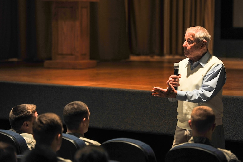 GOODFELLOW AIR FORCE BASE, Texas-- Retired Chief Master Sgt. Robert Gaylor, the fifth Chief Master Sergeant of the Air Force, speaks with Team Goodfellow NCO's at the base theater Nov. 07, 2012. Chief Gaylor shared his insight about the Air Force, both past and present, and how becoming a supervisor was one his toughest task. (U.S. Air Force photo/Airman 1st Class Michael Smith)