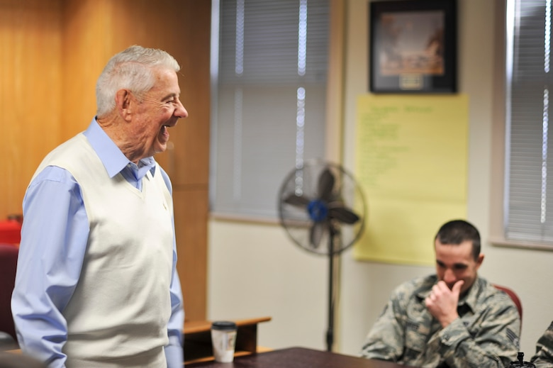 GOODFELLOW AIR FORCE BASE, Texas-- Retired Chief Master Sgt. Robert Gaylor, the fifth Chief Master Sergeant of the Air Force, shares a laugh with Airman Leadership School students Nov. 07, 2012. Chief Gaylor talked to the Airmen about what it takes to become a successful leader and to be prepared for any situation. (U.S. Air Force photo/Airman 1st Class Michael Smith)