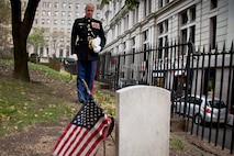 NEW YORK -- Lt. Col. Richard Bordonaro, 6th Communication Battalion, commanding officer, takes a moment of silence in front of Lt. Col. Franklin Wharton's grave. Bordonaro and his Marines placed a wreath to pay tribute to Wharton on the 237th Birthday of the Marine Corps, Nov. 10, 2012.  Wharton was the 3rd Commandant of the Marine Corps. He served from 1798 to 1818 and was the first Commandant to occupy the Commandant's House, Marine Barracks, Washington. He was born in Philadelphia, and now rests at Trinity Church a few blocks away from Wall Street in Manhattan. (Marine Corps production by Sgt. Randall A. Clinton / RELEASED)