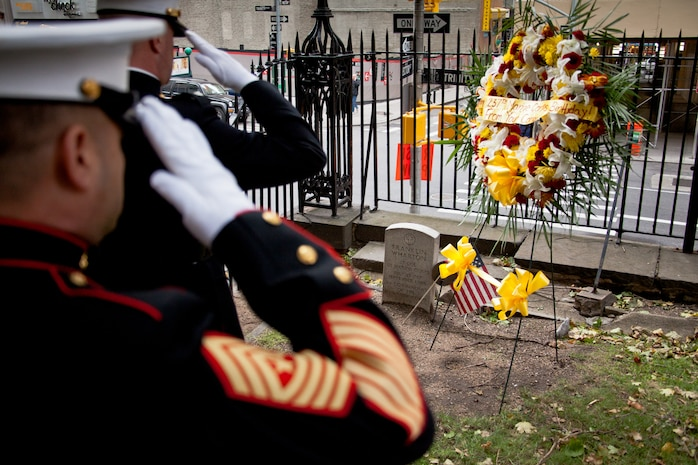 NEW YORK -- Lt. Col. Richard Bordonaro, 6th Communication Battalion, commanding officer, and Sgt. Maj. George Sanchez, salute the graveof Lt. Col. Franklin Wharton's grave. The Marines placed a wreath to pay tribute to Wharton on the 237th Birthday of the Marine Corps, Nov. 10, 2012.  Wharton was the 3rd Commandant of the Marine Corps. He served from 1798 to 1818 and was the first Commandant to occupy the Commandant's House, Marine Barracks, Washington. He was born in Philadelphia, and now rests at Trinity Church a few blocks away from Wall Street in Manhattan. (Marine Corps production by Sgt. Randall A. Clinton / RELEASED)