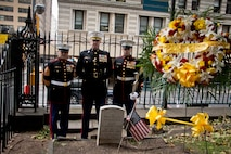 NEW YORK -- Sgt. Maj. George Sanchez, Lt. Col. Richard Bordonaro, and  Sgt. John  Sardine (from left), all from 6th Communication Battalion, stand next to the grave of Lt. Col. Franklin Wharton, 3rd Commandant of the Marine Corps. The Marines placed a wreath to pay tribute to Wharton on the 237th Birthday of the Marine Corps, Nov. 10, 2012. He served from 1798 to 1818 and was the first Commandant to occupy the Commandant's House, Marine Barracks, Washington. He was born in Philadelphia, and now rests at Trinity Church a few blocks away from Wall Street in Manhattan. (Marine Corps production by Sgt. Randall A. Clinton / RELEASED)