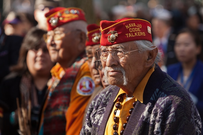 NEW YORK -- A Navajo code talker veteran watches the opening ceremony for the 93rd Anniversary of The New York City Veterans Day Parade, here, Nov. 11. The parade is hosted by the United War Veterans Council, Inc. on behalf of the City of New York. It is the oldest and largest of its kind in the nation. Since November 11, 1919, the parade has provided an opportunity for Americans and International visitors to honor those who have served in the nation's largest city. (Official Marine Corps photo by Cpl. Bryan Nygaard)